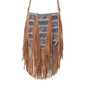 MADDEN GIRL Faux Leather Fringe Tassel Crossbody
